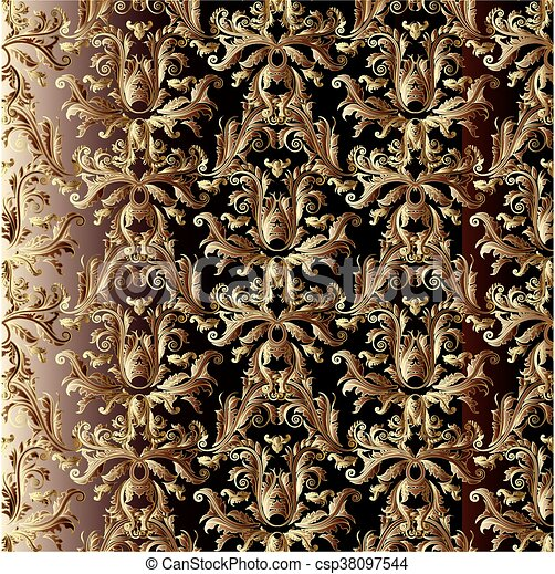 Baroque Wallpaper Vector Vintage Seamless Pattern In