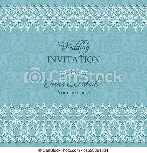 Baroque wedding invitation, blue - csp20861884
