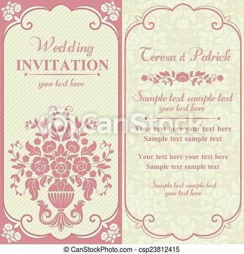 Baroque wedding invitation, pink and beige - csp23812415