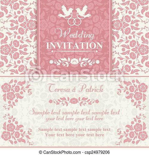 Baroque wedding invitation pink and beige antique baroque wedding baroque wedding invitation pink and beige csp24979206 stopboris Images