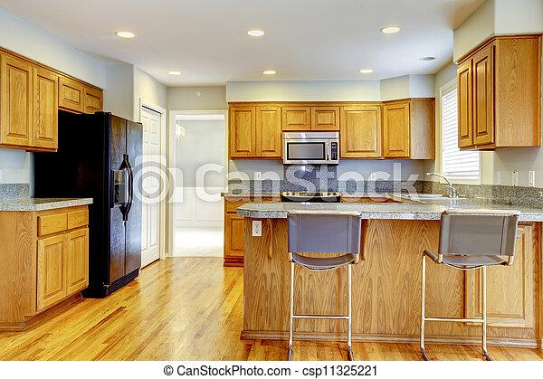 Barra, hardwood., clásico, taburetes, nuevo, cocina. Barra,... foto ...
