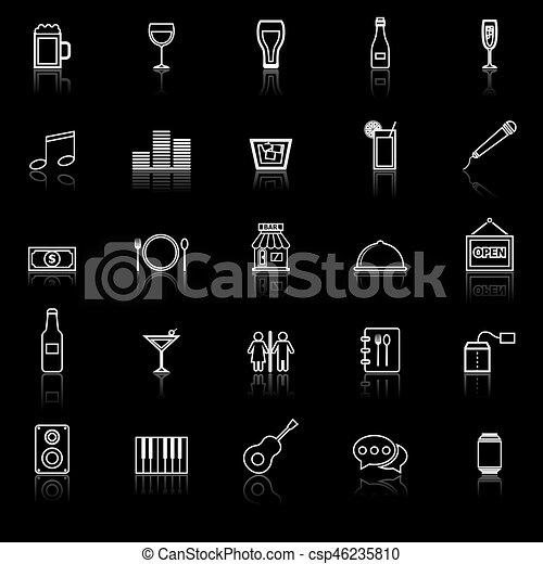 Los iconos de la línea del bar reflejan el fondo negro - csp46235810