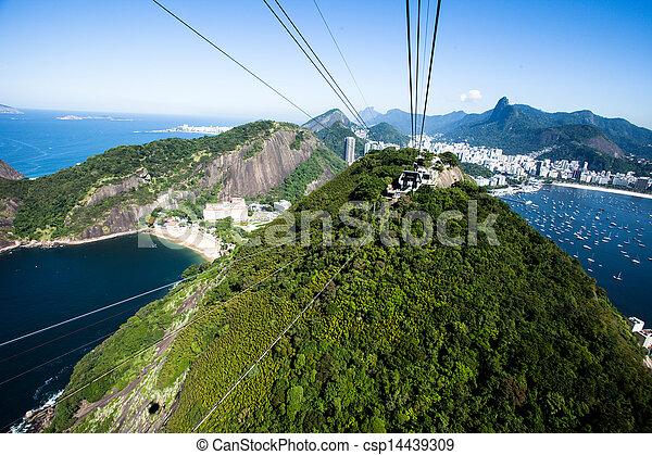 El teleférico al pan de azúcar en Río de Janeiro, Brasil. - csp14439309