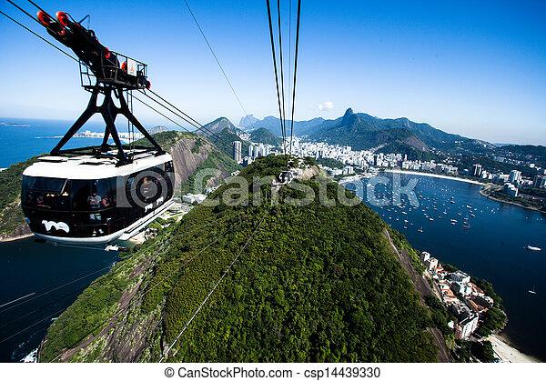 barra, janeiro, cablegrafíe coche, de, azúcar, río, brazil. - csp14439330