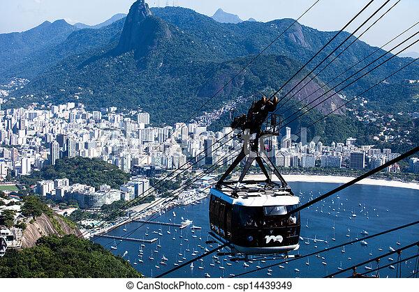 El teleférico al pan de azúcar en Río de Janeiro, Brasil. - csp14439349