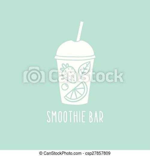 Logotipo de bar de batidos. Un vaso dibujado a mano para llevar - csp27857809