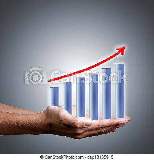 barras, éxito financiero, resultados, ganancias, manos - csp13165915