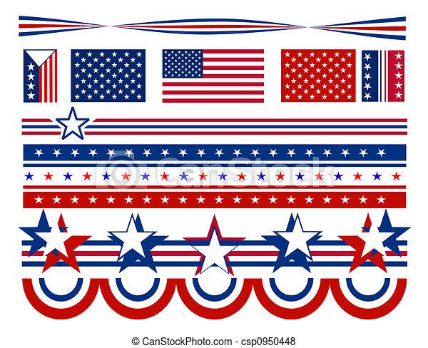 barras, -, estrellas, estados unidos de américa, y - csp0950448