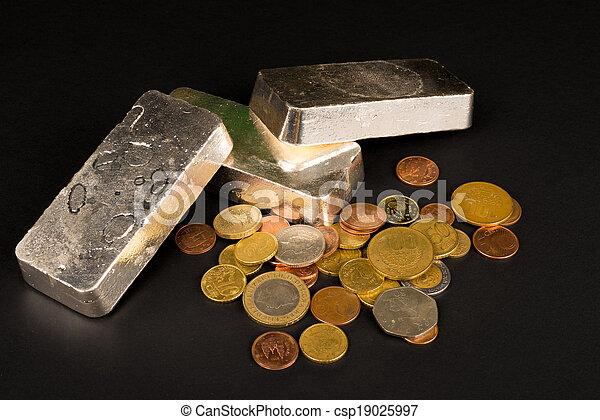 barras, moedas, prata - csp19025997