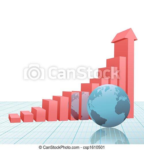 barre, grafico, su, carta, freccia, terra, progresso - csp1610501