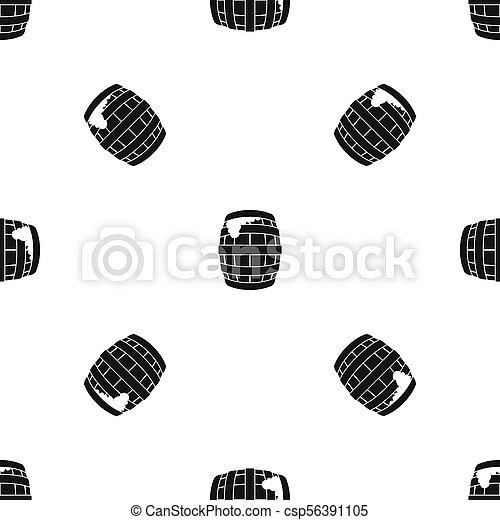 Barrel of beer pattern seamless black - csp56391105