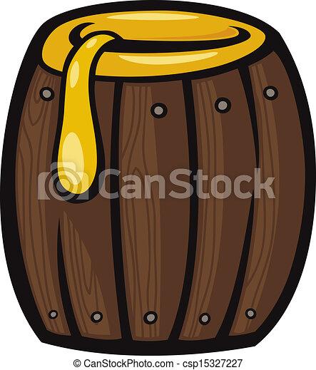 barrel of honey clip art cartoon illustration - csp15327227