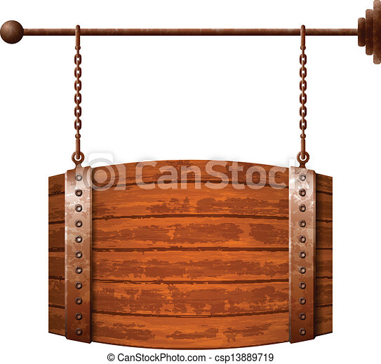 Barrel shaped wooden signboard - csp13889719
