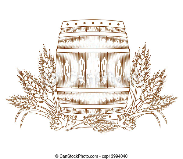 Barrel with wheat ears - csp13994040