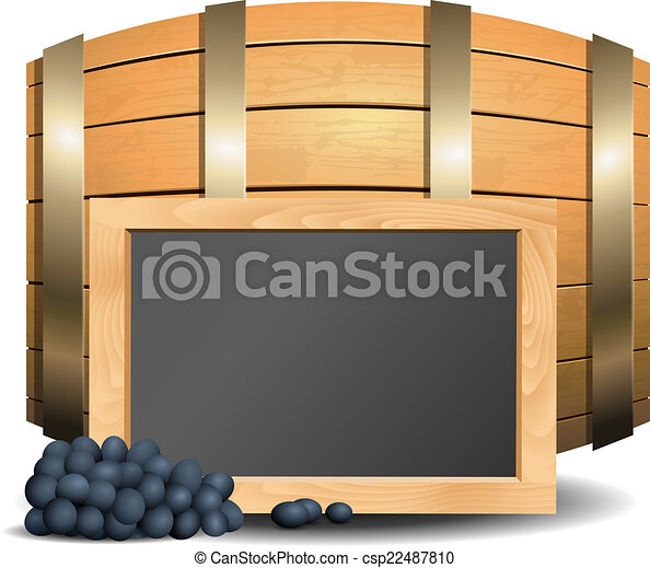 Barrel with wine and blackboard in the foreground - csp22487810