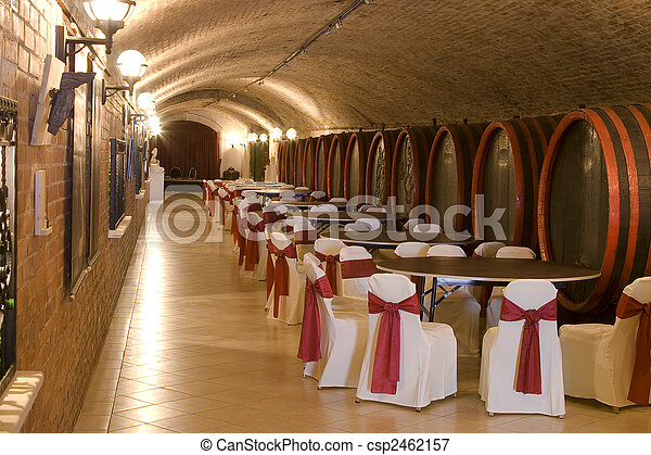 Barrels in a wine-cellar. - csp2462157