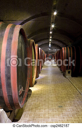 Barrels in a wine-cellar. - csp2462187