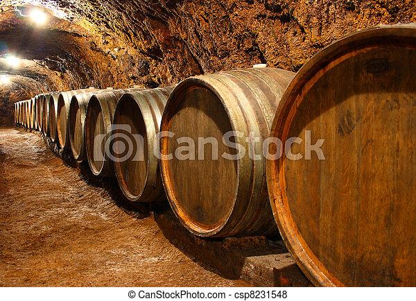 Barrels in a wine cellar - csp8231548