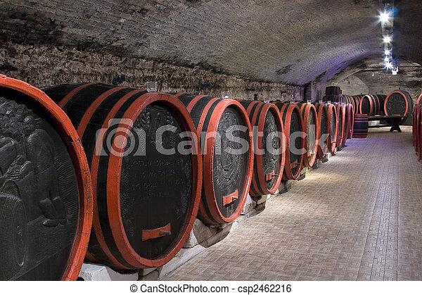 Barrels in a wine-cellar. - csp2462216