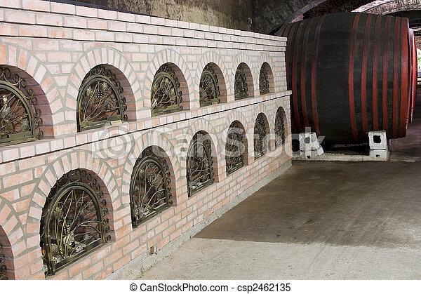 Barrels in a wine-cellar. - csp2462135