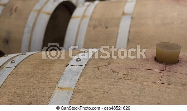 barrels in a wine cellar - csp48521629