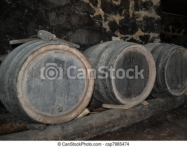 Barrels in a wine-cellar - csp7965474