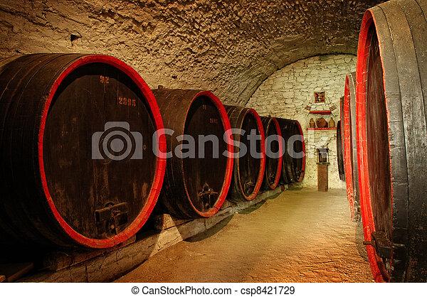 Barrels in a wine-cellar - csp8421729