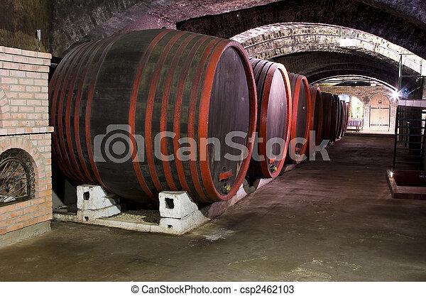 Barrels in a wine-cellar. - csp2462103
