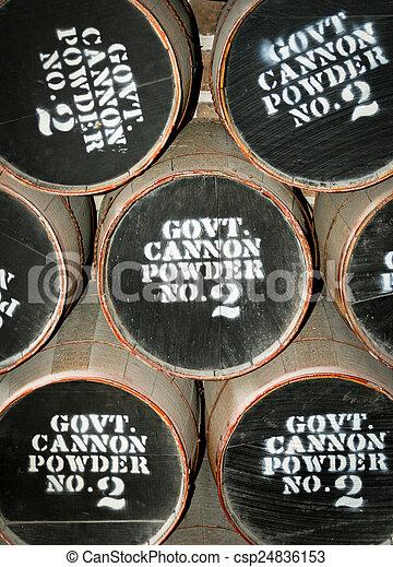 Barrels on gun powder - csp24836153