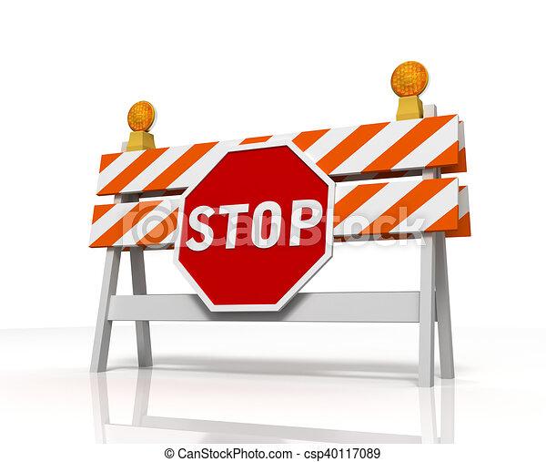 La barrera prohibida aisló ilustración 3D - csp40117089