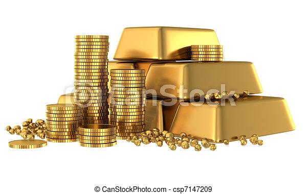 barres, pièces, or, 3d - csp7147209