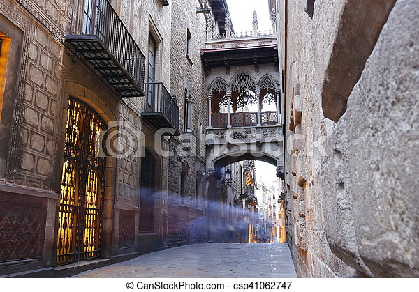 Barri Gotic quarter of Barcelona, Spain - csp41062747