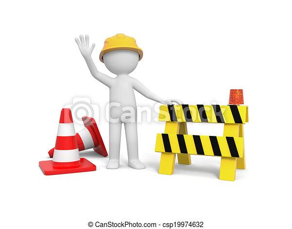 Trabajador con barricada - csp19974632