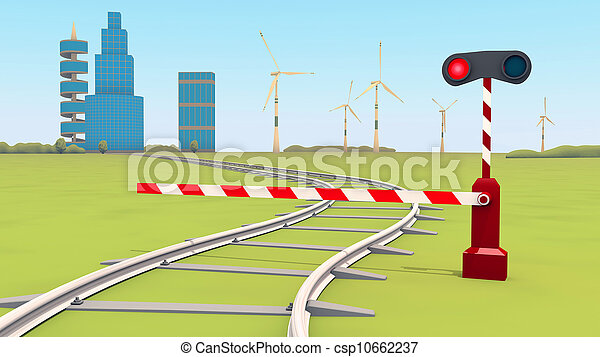 barrier closes the railway - csp10662237