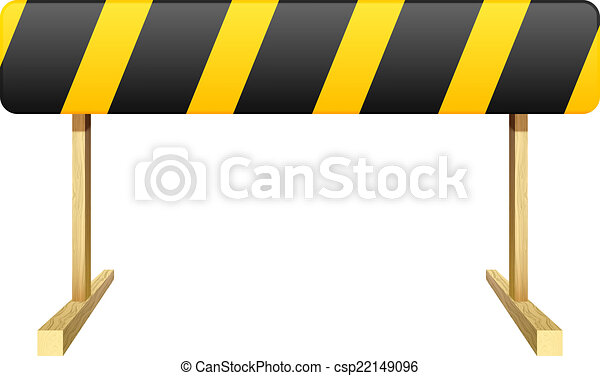 Barrier isolated on white background. Black and yellow stripe. V - csp22149096