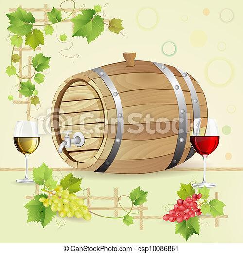 Barril de vino con uvas y vasos - csp10086861