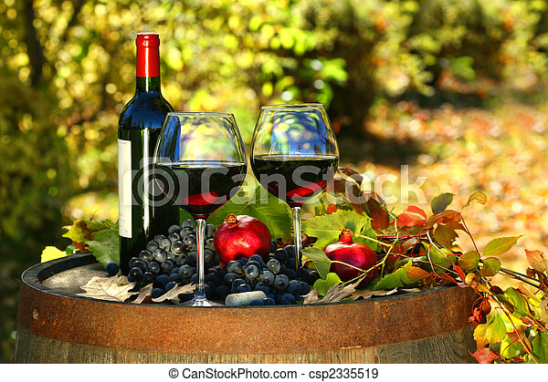 barril, vinho, antigas, vermelho, óculos - csp2335519