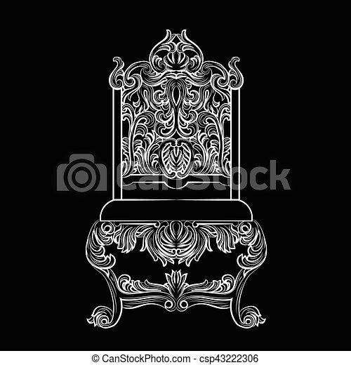 Barroco, muebles, estilo, lujo. Trono, estilo, ornamentos, furniture ...