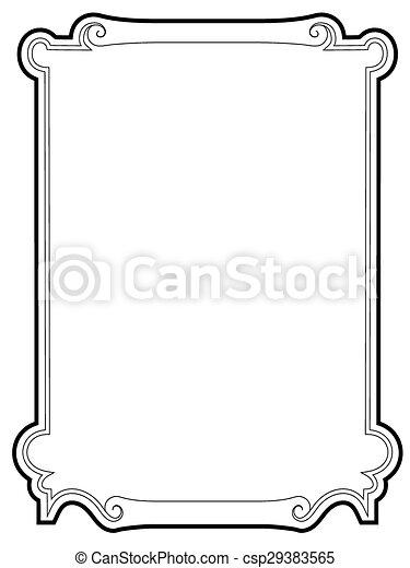 barroco, pretas, cartouche, cacheados, quadro - csp29383565