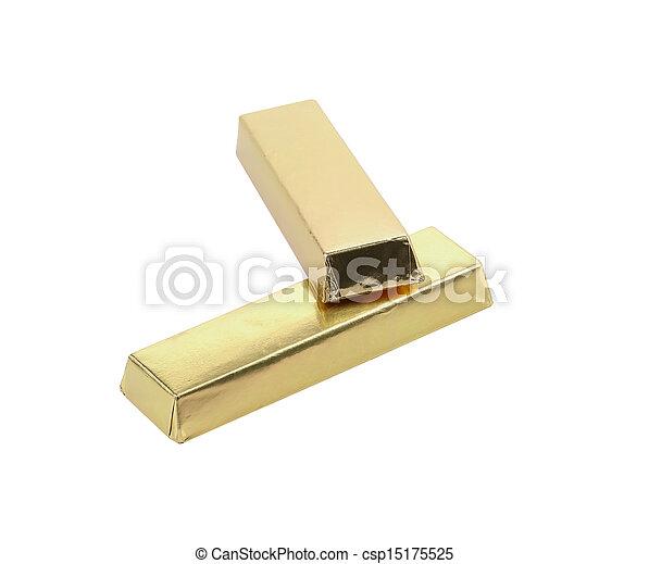 Bars of chocolate in golden foil. - csp15175525