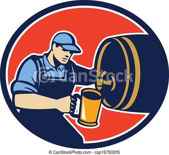 Bartender Pouring Beer Pitcher Barrel Retro - csp16750205