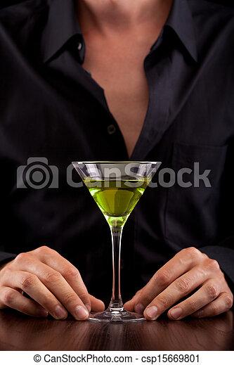 Bartender pours drink - csp15669801