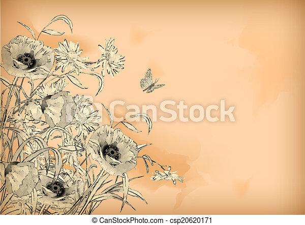 Barva Vodova Kreslit Kvetiny Motyl Kresleni Motyl Kreslit