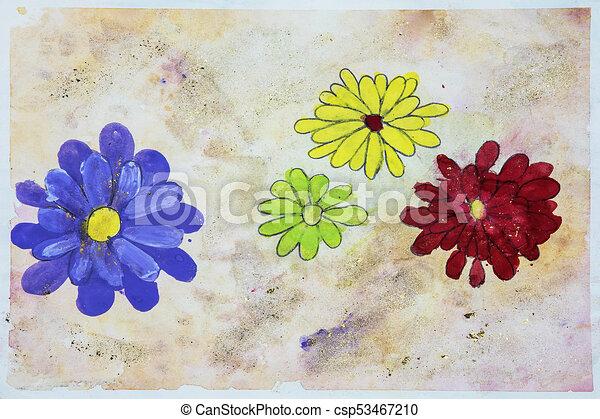 Barva Vodova Kvetiny Childs Kresleni Childs Zlaty Barva Vodova