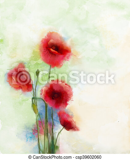 Barva Vodova Mak Kvetiny Malba Cerven