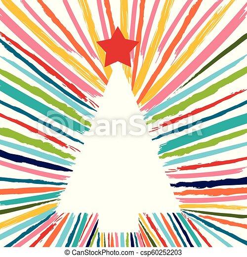 barwny, drzewo, ręka, szczotka, pociągnięty, boże narodzenie - csp60252203