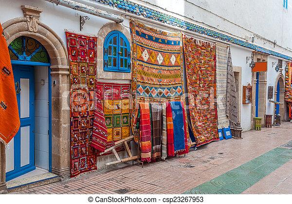 barwny, safian, sprzedaż, medyna, orientalny, afryka, essaouira, dywany - csp23267953
