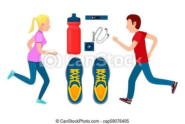 barwny, trening, dwa, wyścigi, sportsmans, chorągiew - csp59076405