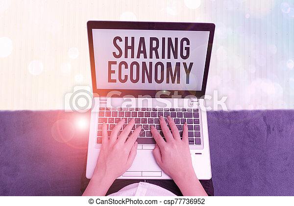 basé, photo, texte, partage, projection, consommation, pair, conceptuel, sharing., signe, collaborative, economy., ou - csp77736952