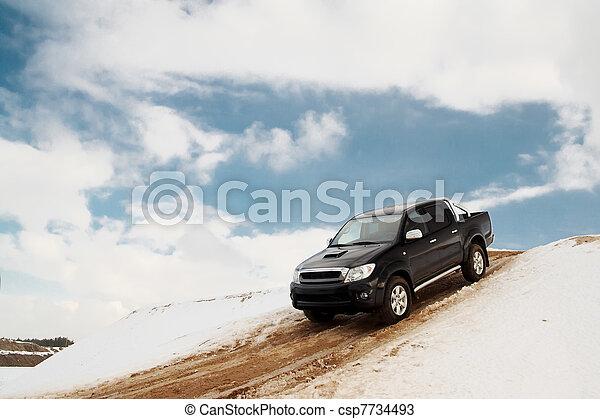 bas, camionnette, colline, conduite - csp7734493